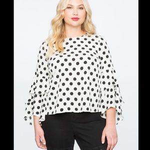Eloquii white and black polka dot blouse size 18